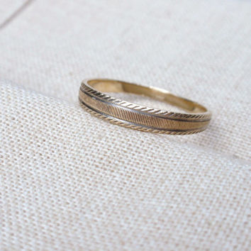 Mans Two Tone Wedding Band 10k ring yellow gold simple line designs size 12