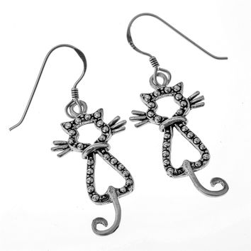 SHIPS FROM USA 925 Sterling Silver Cat Dangle Earrings Halloween Party Jewelry Gifts for Women Wife Her Girlfriend Girls YCE74