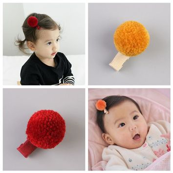 2017 New Kids Plush Ball hair clips Newborn Toddlers fashion hairpins Glitter Barrettes Hair Accessories L3