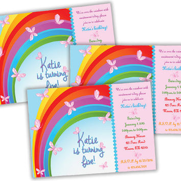 Butterfly Invitation - Butterfly Birthday Invitation - Girls Birthday Party - Rainbow Butterflies - Pink Butterfly Invite - Birthday Party