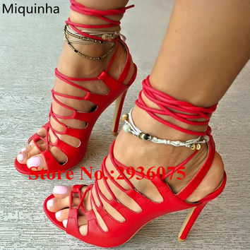 Red Soft Leather Cross-Tied Gladiator Sandals Cut-Outs Strappy Stiletto Heels Slingbacks Sandals Lace Up Casual Sexy Shoes Woman