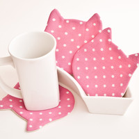 Cat Fabric Coasters for cups, set of 4