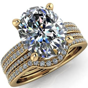 Jameson Oval Moissanite Triple Diamond Channel 4 Prong Ring