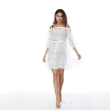 LMFUNT Knitted Pareo Beach 2017 New Bathing suit Cover ups Hollow Sexy Swimsuit Cover up Beachwear Cover-Ups Beach Dress Tunic Robe