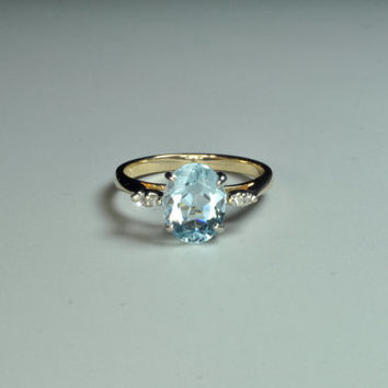 14K Yellow Gold Aquamarine and Diamond Ring.  Free Shipping in the U.S.