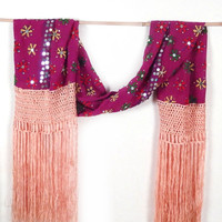 Pink Gypsy Queen Fringed Scarf