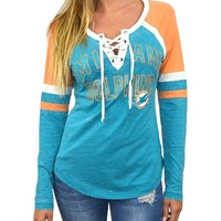 Miami Dolphins Womens Laceup Long Sleeve Top | SportyThreads.com
