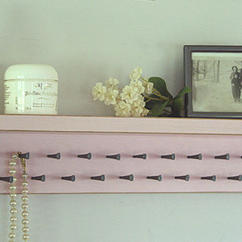 Jewelry Storage Holder Shelf Necklace Organizer Shabby Vintage Pale Pink Wall Shelf Jewelry Organizer