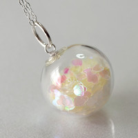 White heart glitter blown glass ball sterling silver by thestudio8