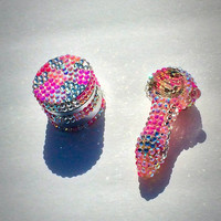 Cotton Candy Pink glass pipe and herb grinder set BLING