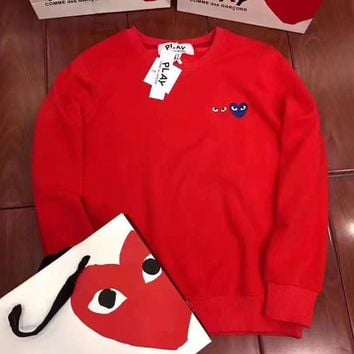 CDG Play Woman Men Fashion Round Neck Top Sweater Pullover