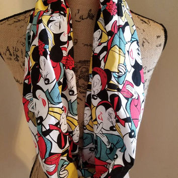 disney - princess - minnie - mouse - vintage - retro - style -infinity  - scarf