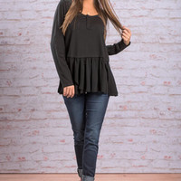 Ruffle Around Top, Black