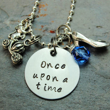 "Disney's ""Cinderella"" Inspired Silver Princess Necklace Jewelry Hand Stamped, Blue crystal on Metal Chain"