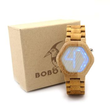 Bambooo Wooden Hexagonal Form WristWatch Mens Kisai Wood Led Watch Unique Night Vision Full Wood Clock With Box