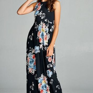 In Bloom Black Floral Maxi Dress