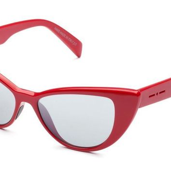 Italia Independent - 0906 Red Glossy Sunglasses / Gradient Silver Mirror Lenses