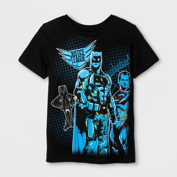 Boys' Justice League Wrap Graphic Short Sleeve T-Shirt - Black