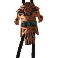 "Solid Copper Turquoise Leather Bolo Tie Southwest Design Kachina 34"" Bell Craft"