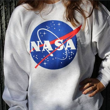Women NASA Printed Pullover Sweatshirt Loose Jumper Tee Tops
