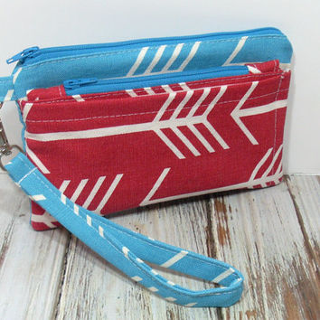 Red Arrow Wristlet, Cell Phone Wallet, Red and Teal Clutch, Clutch with Wristlet