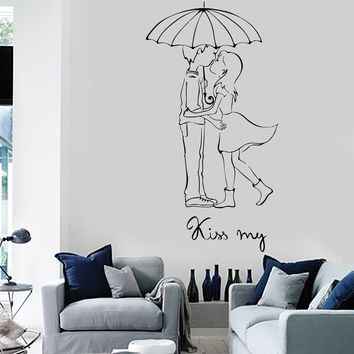 Wall Vinyl Decal Love Couple Kiss My Romantic Bedroom Decor Unique Gift z3698