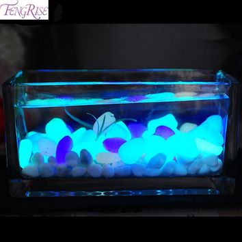 50pcs Glow In The Dark Artificial Luminous Pebbles Stone Aquarium Fish Tank Decoration Accessories