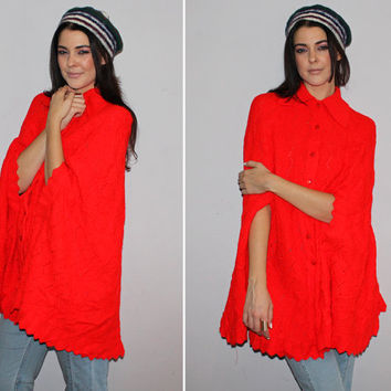 Vintage 60s 70s TOMATO RED Knit Cape / Mod Poncho / Pointy Collar / Arm Slits / Fall, Winter Cozy Sweater / Boho, Groovy, Hippie