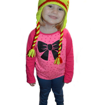 Crochet Softball Hat, Earflap Softball, Red and Yellow hat, Stitches, Toddler Softball Hat, Teen Girls Hat, Knit Softball Hat, Baby Girl Hat