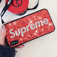 Supreme Tide brand glitter glitter sequins iPhonex all-inclusive shatter-resistant mobile phone case cover Red