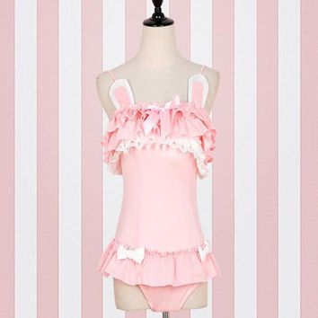 Hot Sale Summer Sexy Teen Girls' Swimsuit Japanese Style Cute Rabbit Design Pink Bathing Costume Slim One Piece Suit Swimwear