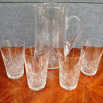 Cut Crystal Juice Tumblers and Pitcher, S/5