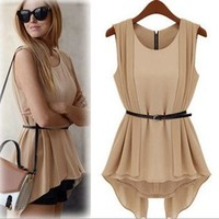 bb fashion Vintage chiffon dress with belt