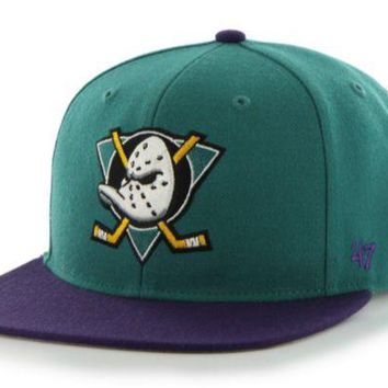 ONETOW Forty Seven Brand Anaheim Ducks Sure Shot 2-Tone Snapback In Teal
