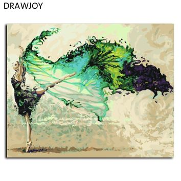 DRAWJOY Framed Painting By Numbers DIY Oil Painting Hand Painted On Canvas Art 40*50cm Abstract Ballet Dancer G006 Wall Art