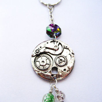 Clock gear key chain silver , with electroplate glass and glow in the dark beads