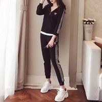 """Adidas"" Women Casual Multicolor Silver Edge Hooded Long Sleeve Zip Cardigan Coat Trousers Set Two-Piece Sportswear"
