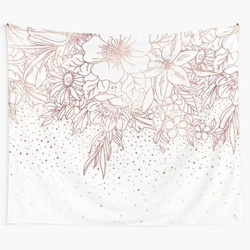 'Rose gold hand drawn floral doodles and confetti design ' Wall Tapestry by InovArtS