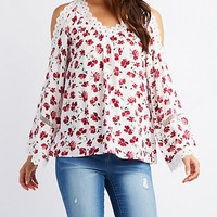 Floral Crochet Cold Shoulder Top | Charlotte Russe