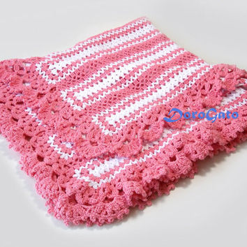 Crochet Baby Blanket with lace trim, Summer blanket, girl cotton newborn blanket, baby afghan, travel stroller pram, Victorian lace blanket