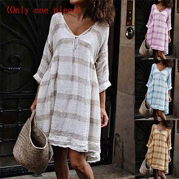 Summer striped V-neck long sleeve mid-length dress (Only one piece)