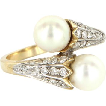 Cultured Pearl Diamond Vintage Bypass Ring 14 Karat Yellow Gold Estate Fine Jewelry