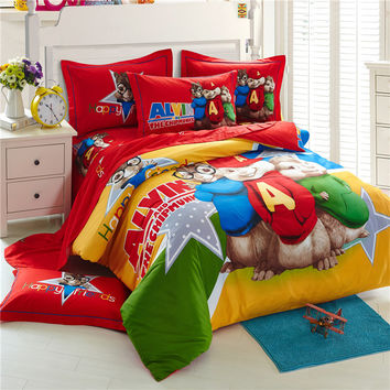 Alvin and the Chipmunks 3D bedding sets cartoon bed linen 100% cotton bed sheets kids bedding set duvet cover king size
