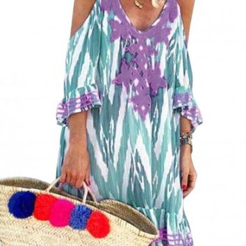 Green Boho Cold Shoulder Vacation Dress