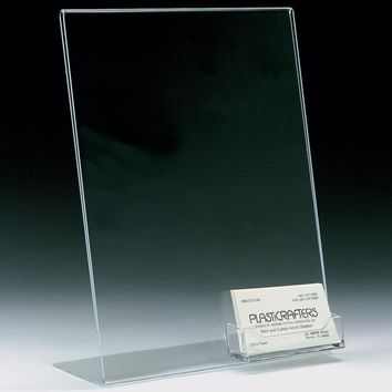 8.5 x 11 Acrylic Sign Holder with Pocket for Business Cards, Slant Back - Clear 19734