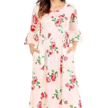 Pink 34 Bell Sleeve Floral Midi Dress