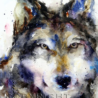 WOLF Large Watercolor Print by Dean Crouser