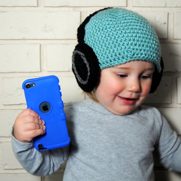 Baby Headphone Hat, Boys Crochet Beanie, Headphone Beanie, Knit Baby Hat, Baby Boy Hat, Blue Boys Hat, Kids Crochet Hat, Toddler Boys Hats
