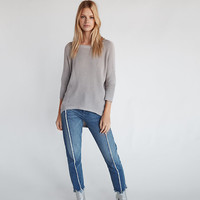 Ribbed Hi-Lo Tunic Sweater