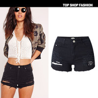 Women's Fashion Hot Sale High Waist Stretch Denim Plus Size Shorts [6451819588]